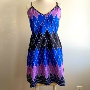 Billabong Blue Black and Purple Cross Back Dress